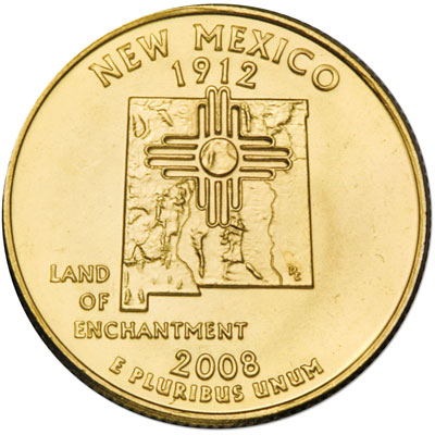 Image for 2008 Gold-Plated New Mexico Quarter from Littleton Coin Company