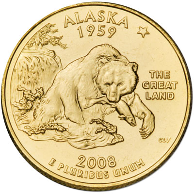 Image for 2008 Gold-Plated Alaska Quarter from Littleton Coin Company