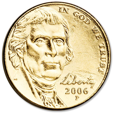 Image for 2006 Gold-Plated Jefferson Monticello Nickel from Littleton Coin Company