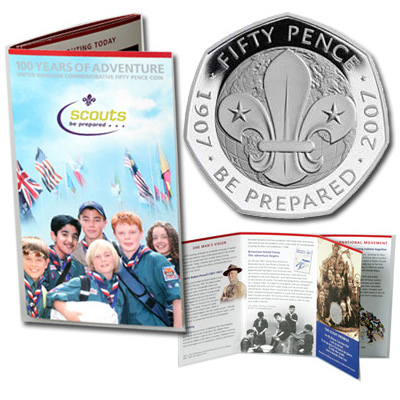 Image for 2007 Great Britain 50 Pence 100th Scouting Anniversary Coin,  Brilliant Uncirculated from Littleton Coin Company