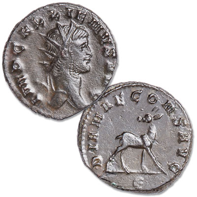 Image for A.D. 253-268 Gallienus Bronze Antoninianus Deer Reverse from Littleton Coin Company