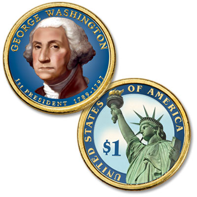 Image for 2007 Colorized George Washington Presidential Dollar from Littleton Coin Company