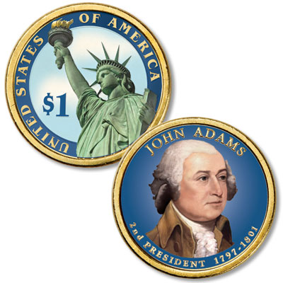 Image for 2007 Colorized John Adams Presidential Dollar from Littleton Coin Company