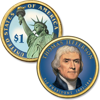 Image for 2007 Colorized Thomas Jefferson Presidential Dollar from Littleton Coin Company