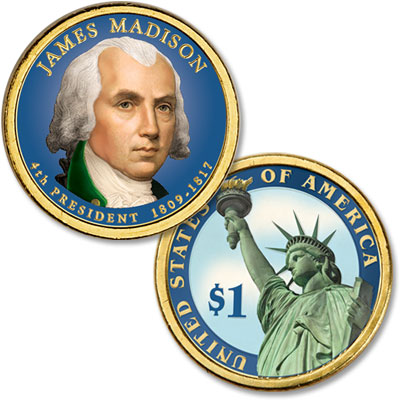 Image for 2007 Colorized James Madison Presidential Dollar from Littleton Coin Company