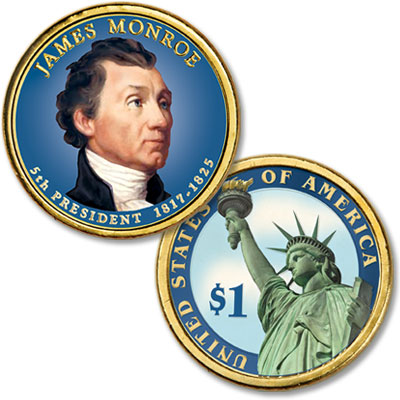 Image for 2008 Colorized James Monroe Presidential Dollar from Littleton Coin Company
