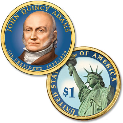 Image for 2008 Colorized John Quincy Adams Presidential Dollar from Littleton Coin Company