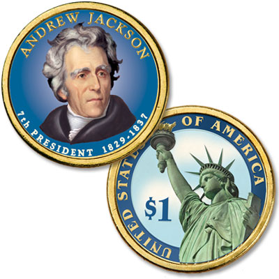 Image for 2008 Colorized Andrew Jackson Presidential Dollar from Littleton Coin Company