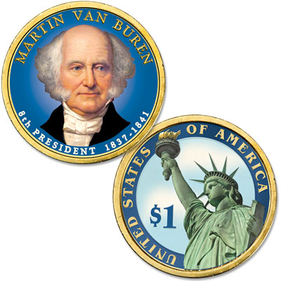Image for 2008 Colorized Martin Van Buren Presidential Dollar from Littleton Coin Company