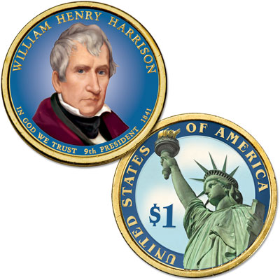 Image for 2009 Colorized William Henry Harrison Presidential Dollar from Littleton Coin Company