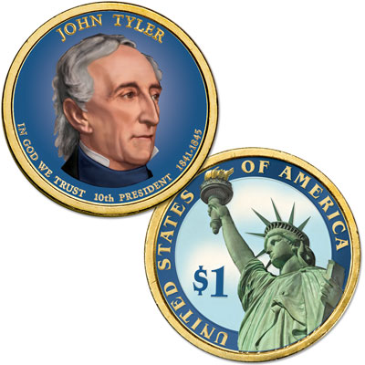 Image for 2009 Colorized John Tyler Presidential Dollar from Littleton Coin Company