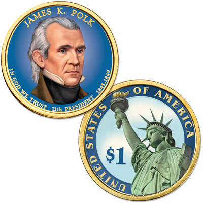 Image for 2009 Colorized James K. Polk Presidential Dollar from Littleton Coin Company