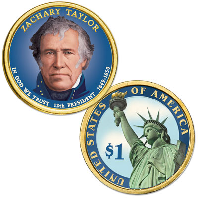 Image for 2009 Colorized Zachary Taylor Presidential Dollar from Littleton Coin Company