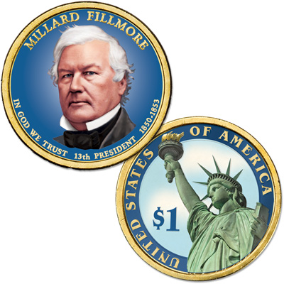 Image for 2010 Colorized Millard Fillmore Presidential Dollar from Littleton Coin Company