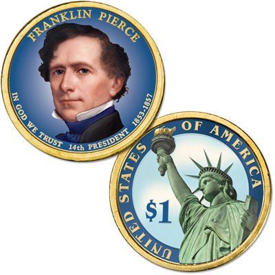 Image for 2010 Colorized Franklin Pierce Presidential Dollar from Littleton Coin Company