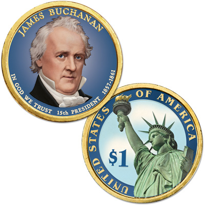 Image for 2010 Colorized James Buchanan Presidential Dollar from Littleton Coin Company
