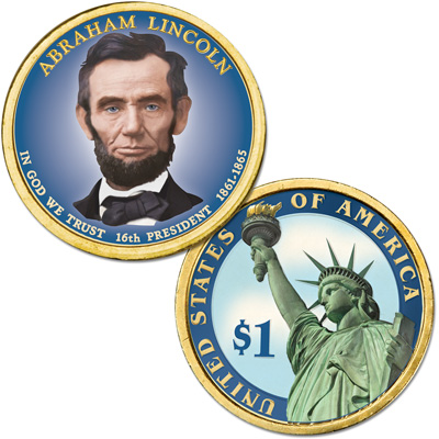 Image for 2010 Colorized Abraham Lincoln Presidential Dollar from Littleton Coin Company