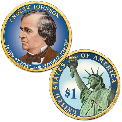 Image for 2011 Colorized Andrew Johnson Presidential Dollar from Littleton Coin Company
