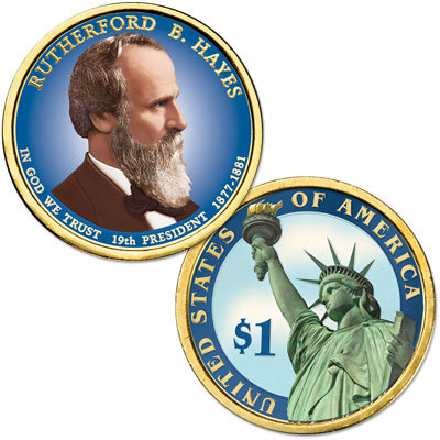 Image for 2011 Colorized Rutherford B. Hayes Presidential Dollar from Littleton Coin Company
