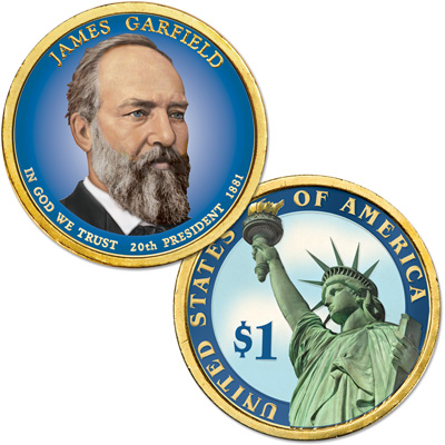 Image for 2011 Colorized James A. Garfield Presidential Dollar from Littleton Coin Company