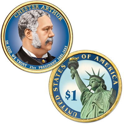 Image for 2012 Colorized Chester A. Arthur Presidential Dollar from Littleton Coin Company