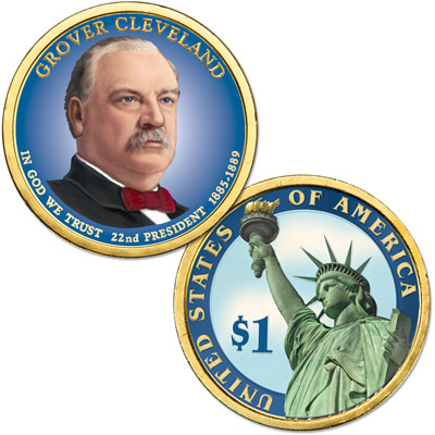 Image for 2012 Colorized Grover Cleveland (Term 1) Presidential Dollar from Littleton Coin Company