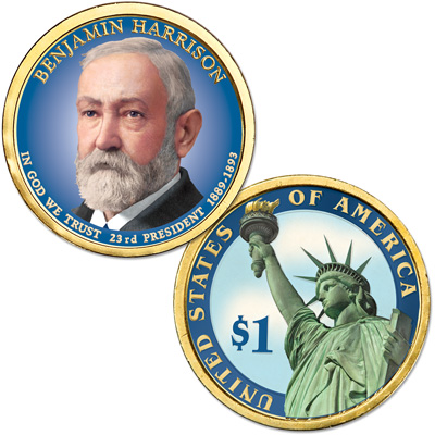Image for 2012 Colorized Benjamin Harrison  Presidential Dollar from Littleton Coin Company