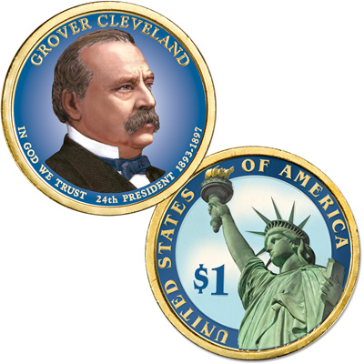 Image for 2012 Colorized Grover Cleveland (Term 2) Presidential Dollar from Littleton Coin Company