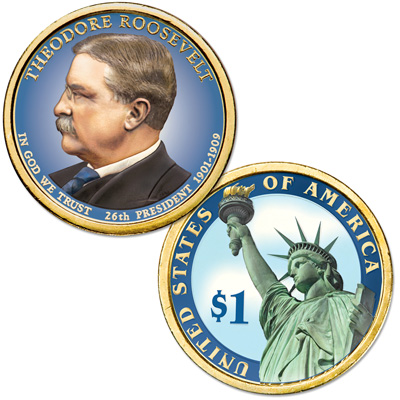 Image for 2013 Colorized Theodore Roosevelt Presidential Dollar from Littleton Coin Company