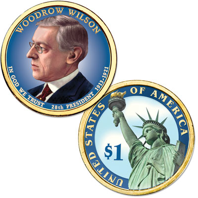 Image for 2013 Colorized Woodrow Wilson Presidential Dollar from Littleton Coin Company
