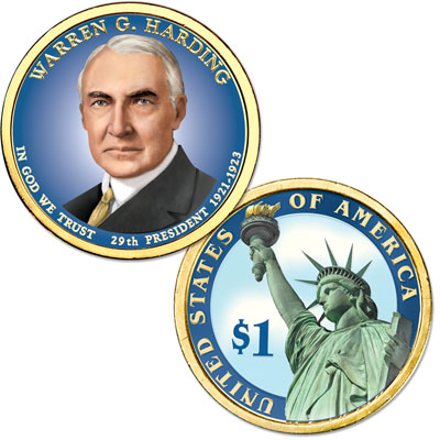 Image for 2014 Colorized Warren G. Harding Presidential Dollar from Littleton Coin Company