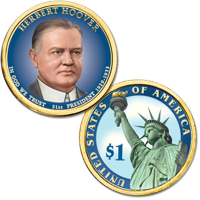 Image for 2014 Colorized Herbert Hoover Presidential Dollar from Littleton Coin Company