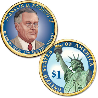Image for 2014 Colorized Franklin D. Roosevelt Presidential Dollar from Littleton Coin Company