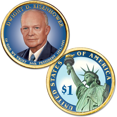 Image for 2015 Colorized Dwight D. Eisenhower Presidential Dollar from Littleton Coin Company