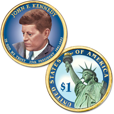 Image for 2015 Colorized John F. Kennedy Presidential Dollar from Littleton Coin Company