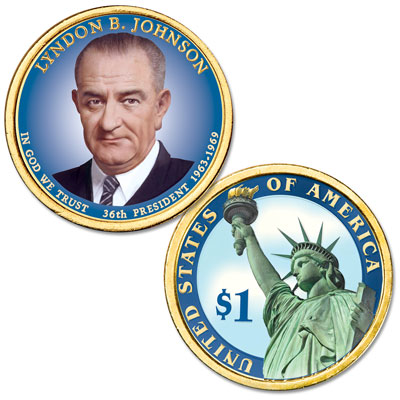 Image for 2015 Colorized Lyndon B. Johnson Presidential Dollar from Littleton Coin Company
