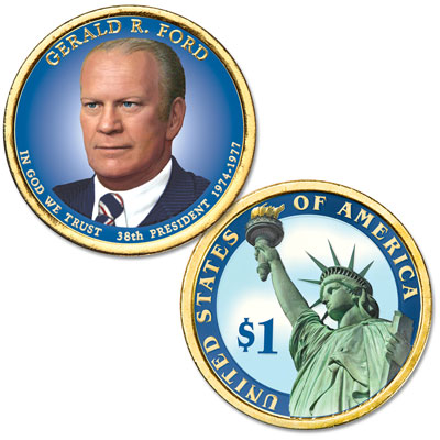 Image for 2016 Colorized Gerald R. Ford Presidential Dollar from Littleton Coin Company
