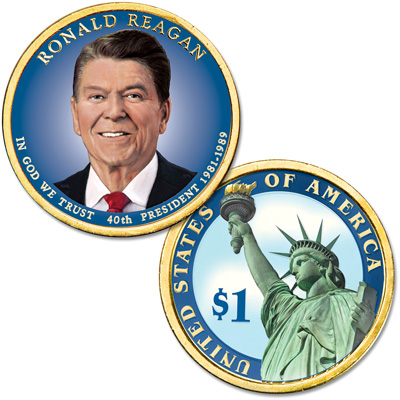 Image for 2016 Colorized Ronald Reagan Presidential Dollar from Littleton Coin Company