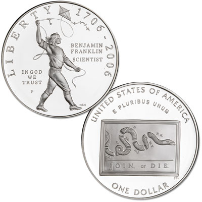Image for 2006-P Benjamin Franklin 'Scientist' Silver Dollar from Littleton Coin Company