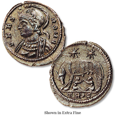 Image for A.D. 330-335 Constantine The Great, Wolf & Twins Bronze Follis from Littleton Coin Company