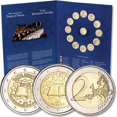 Image for 2007 2 Euro Treaty of Rome Set (13 coins) from Littleton Coin Company