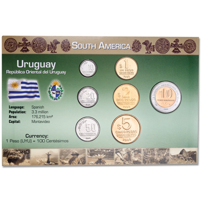 Image for Uruguay Coin Set in Custom Holder from Littleton Coin Company