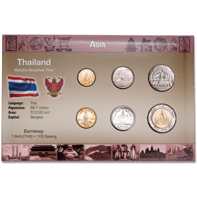 Image for Thailand Coin Set in Custom Holder from Littleton Coin Company