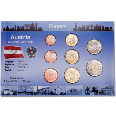Image for Austria Coin Set in Custom Holder from Littleton Coin Company
