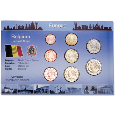 Image for Belgium Coin Set in Custom Holder from Littleton Coin Company