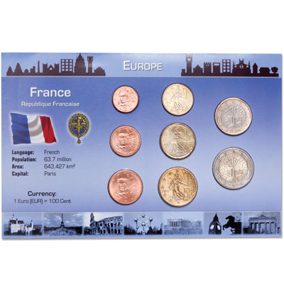 Image for France Coin Set in Custom Holder from Littleton Coin Company