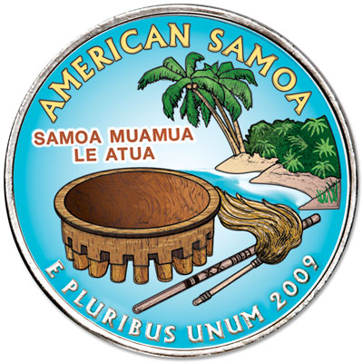 Image for 2009 Colorized American Samoa Territories Quarter from Littleton Coin Company