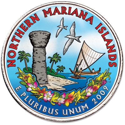 Image for 2009 Colorized Northern Mariana Islands Territories Quarter from Littleton Coin Company