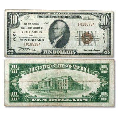 Image for 1929 $10 National Bank Note Type 1 from Littleton Coin Company