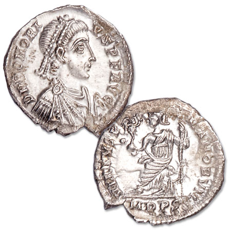 Image for A.D. 393-423 Honorius Harptree Hoard Ancient Roman Silver Siliqua from Littleton Coin Company